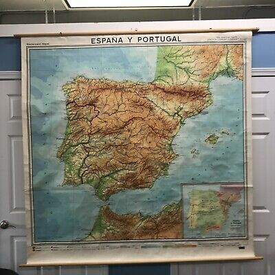Vintage Rare Large Wall Map 1969 Spain & Portugal In Spanish Morocco France