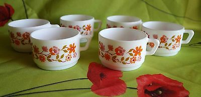 Lot  6 grandes Tasses a chocolat ARCOPAL SCANIA decor fleurs orange,vintage