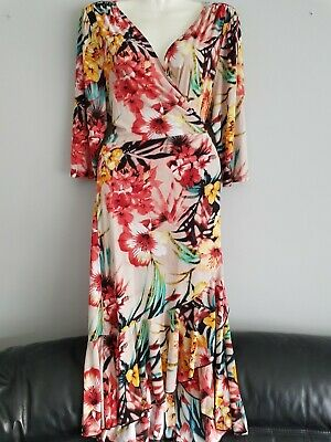 Tropical Floral Wrap Dress Kiyonna Size UK 18-20 New