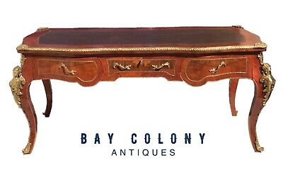 Early 20Th Century French Louis Xv Antique Style Leather Top Bureau Plat Desk