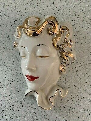 Vintage Lady Statue Bust Art Deco Nouveau plaque wall mask ceramic pottery gold