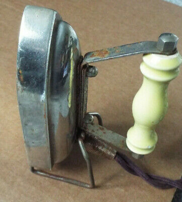 Small vintage A.R.C.Chesterton electric travel iron with ceramic yellow handle