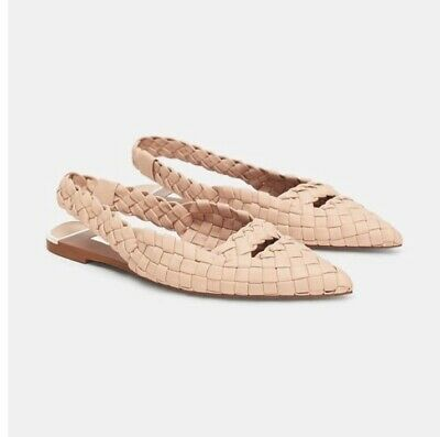 2b250a178b8 Zara Nude Beige Flat Woven Faux Leather Pointed Slingback Shoes Size Uk5  Eur38