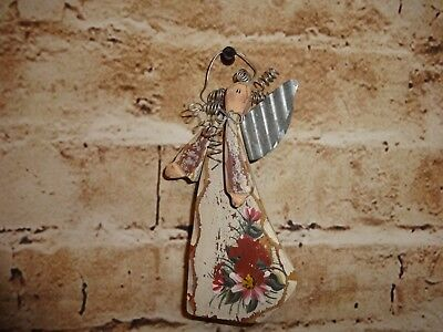 """Wooden Angel Country Wood Christmas Tree Ornament  5"""" Holiday Decoration"""