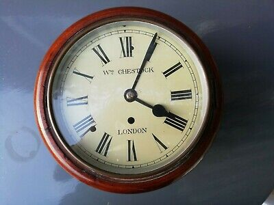 """8"""" dial mahogany wire fusee wall railway clock. Dial stamp: """"Wm Chestock London"""""""