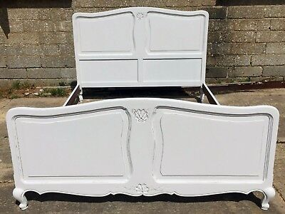 Vintage French Louis Style Painted Antique Double Bed - Shabby Chic