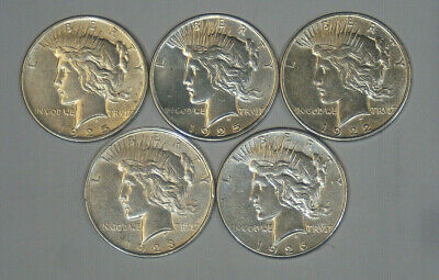 5 90% Silver Peace Dollars 1922 1923 1925 1926 Nice Condition