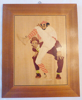 Vintage Double-Sided Wood Marquetry Wall Hanging, O.B. Schuler, Baseball Pegasus