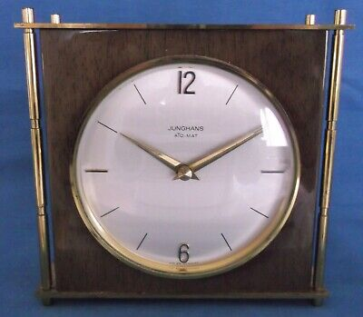 Vintage Junghans Ato Mat Germany Brass Teak Mantel Clock Working Mid Century