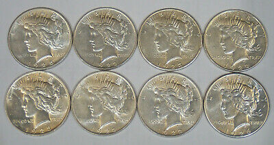 8 90% Silver Peace Dollars 1922 1923 1925 1926 Nice Condition