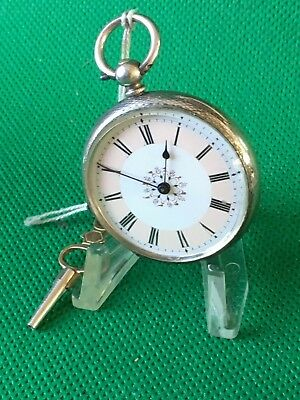 GORGEOUS  Ladies Try coloured Dial Fob Pocket watch Fine silver cased