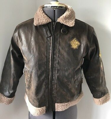 Disneyland World Varsity Jacket Coat Mickey Mouse Disney Sz 8 Yr Aviator Leather