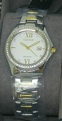 Citizen FE1144-85B Ladies Eco-Drive Crystal Accented Bezel Two Tone Watch NEW