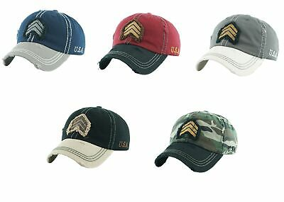 Military Rank Vintage Distressed Dad Hat Baseball Cap - KBethos - Pick a Color