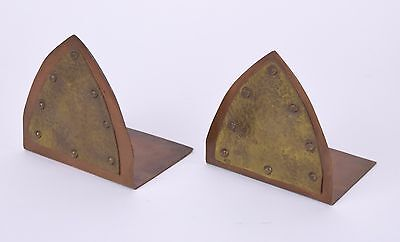Antique Arts & Crafts Hand Made Brass Copper Hand Hammered Bookends