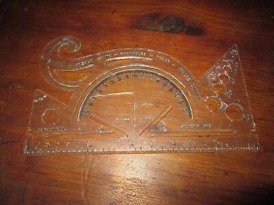 Vintage Sterling 544 French Curve Protractor Made in USA Plastic Clear