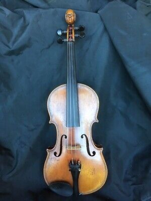 "antique violin 4/4 label ""repaired by James Fenwick Omaha 1886"" unique scroll"