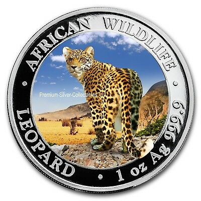 2018 Somalia Leopard Beautiful Colorized Coin Series 1 Ounce Pure Silver!!