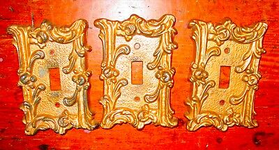 3 Vintage Light Switch Cover Plates Heavy Cast Metal Gold Floral Ornate