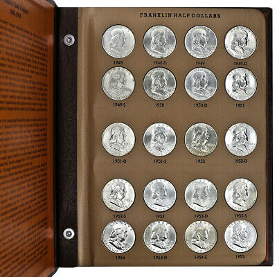 1948 thru 1963 Franklin Silver Half Dollar Complete Set in Deluxe Dansco Album