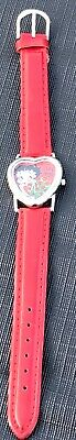 Betty Boop Watch Holding roses Red leather band