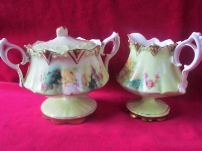 ANTIQUE RS PRUSSIA  Victorian ROSES gold trim  footed SUGAR & CREAMER SET