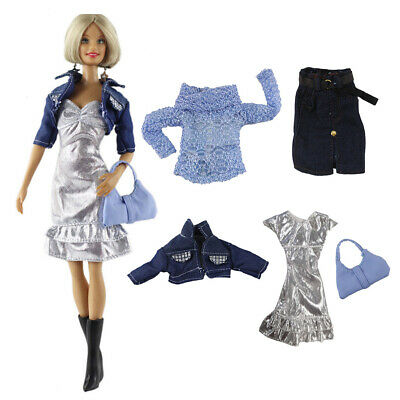 2 Sets Fashion Outfit Fits 1/6 Girl Dolls Top+Skirt and Dress+Jacket+Bag