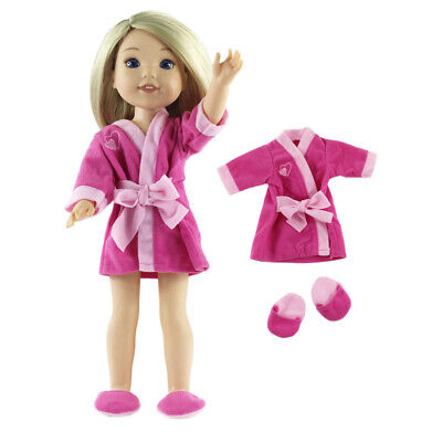 Rose Red Pajamas Bathrobe Slippers Set for  Wishers AG American Doll Doll