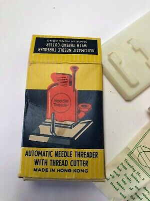 Vintage Miniature Automatic Needle Threader In Original Box Craft Sewing