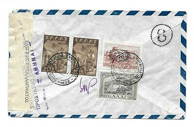 Greece Postal History Censored Airmail Cover Addr Usa Canc Yr'1949