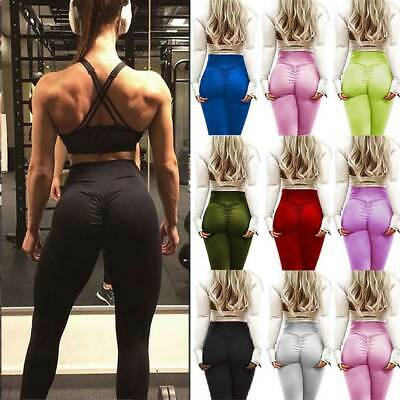 US Women's Yoga Sports Pants Butt Lift Ruched Leggings Fitness Workout Stretchy