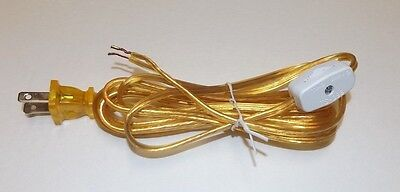 8' Clear Gold Lamp Cord With Line Switch & Polarized Plug 18/2 Spt-1 New 46752Jb