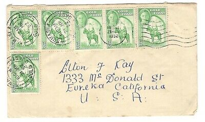 1952 British Gold Coast 1/2d x6 on Cover to USA