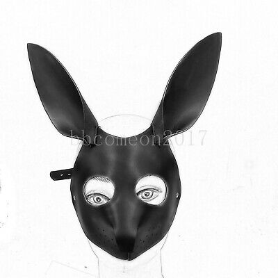 New PU Leather Open Eye Head Hood Blindfold Roleplay Fancy Cover Rabbit Mask Toy