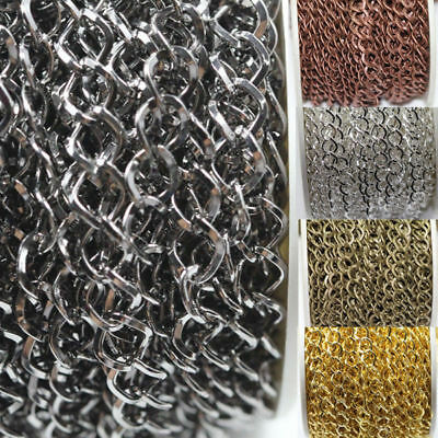 1/5m Link Silver/Gold Plated Twisted Chain Jewellery Bracelet Making Acc Supply