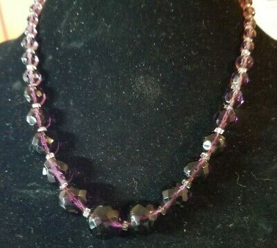 Antique Vintage Art Deco Amethyst Glass Bead Strand Graduated  Choker Necklace