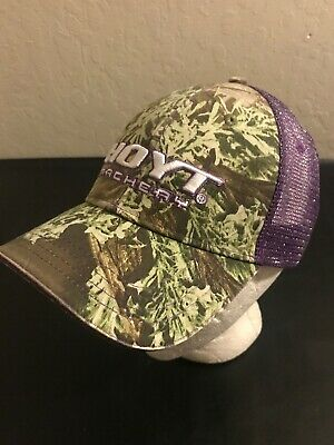 70f0e75af50fd HOYT Archery Embroidered Hat ~ Cap Bow Hunting One Size Adjustable Camo  Purple