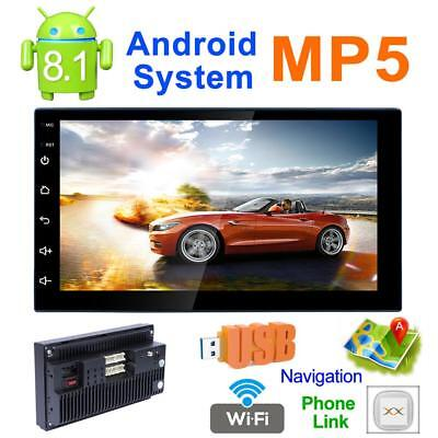 2Din Quad-Core Android 8.1 Car Stereo MP5 Player GPS Navi AM FM Radio WiFi BT4.0