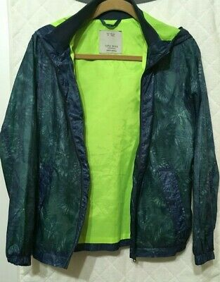 fa050e82 Zara Kids Boys Bomber Jacket Light Hoodie Zip-Up Blue/Neon Green Sz 13
