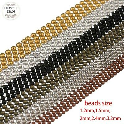 10 Meters Ball Beaded Chains 1.2/1.5/2/2.4/3.2mm 5 Colors DIY Jewelry Findings