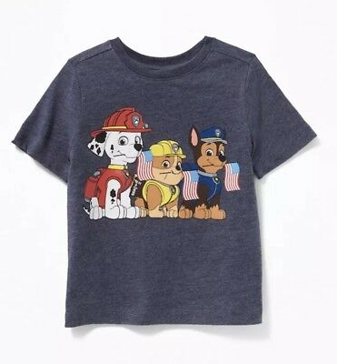 NEW Old Navy Collectabilitees Toddler Boys T-Shirt Paw Patrol American Flag