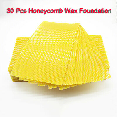 30PCS Beeswax Foundation Sheets Honey Hive Equipment Bee Honey Sheets Tool