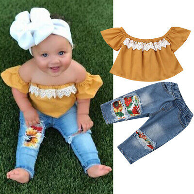 AU 2PCS Toddler Baby Girl Kid Off Shoulder Lace Tops Denim Pants Outfit Clothes