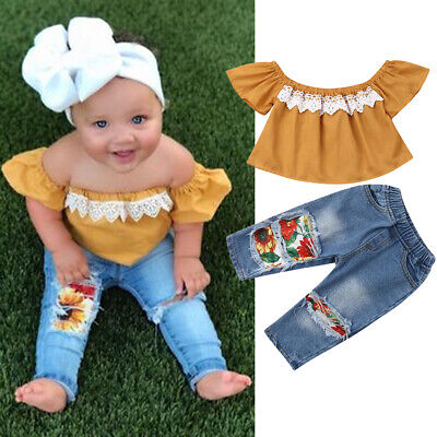 Toddler Kids Baby Girl 2Pcs Outfits off Shoulder Tops+Ripped Denim Jeans Pants