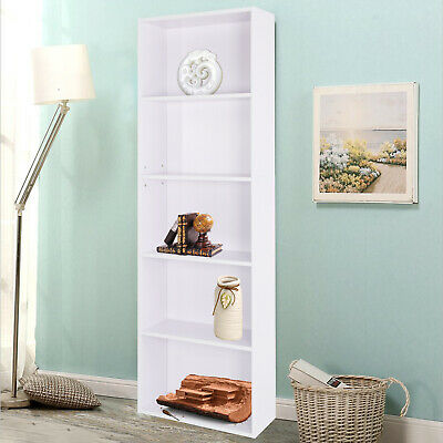 New White Bookcase Shelf Tall Wooden Shelves Bookshelf Storage Shelving Display