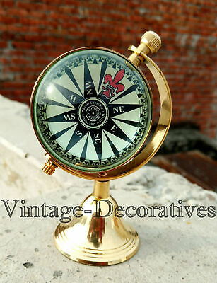 Antiques Shiny Brass Clock With Compass Watch Inside Dial Working Maritime Replica Item Maritime Street Price