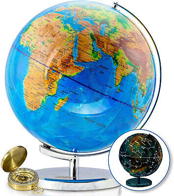 World Globe with Illuminated Constellations - 32 cm Light Up Globe For Kids and
