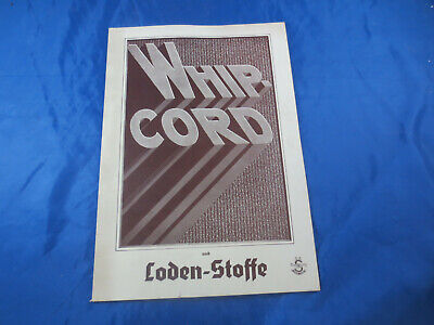 Seltenes Stoff - Musterbuch Stoffmuster um 1937 Loden-Stoffe Whip-Cord