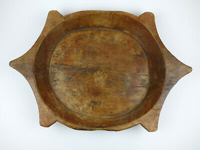 Large wooden Turtle shape bowl with rustic decoration naive antique dough