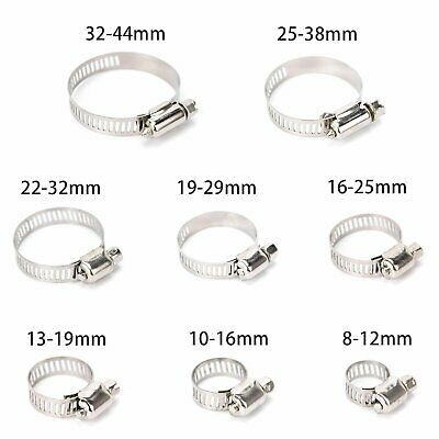 80Pcs Assorted Hose Clamp Stainless Steel Jubilee Clip Set 8-44mm with Z Wrench